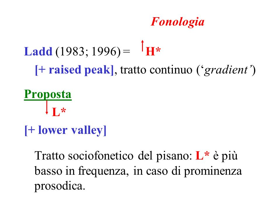 Fonologia Ladd (1983; 1996) = H* [+ raised peak], tratto continuo ('gradient') Proposta. L* [+ lower valley]